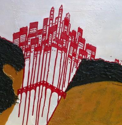 Schilderij: Rode stad