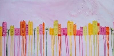 Schilderij: Roze Stad