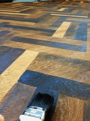 vijf kleuren hout imitatie (vloer 14x20m: opera Lulu)